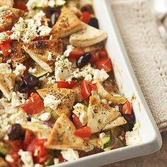 Fabulous idea! Greek Chicken and Pita Casserole with Feta Cheese and Kalamata Olives. #meat #chicken #poultry #dinner #meals #delicious #food #cooking #Greek #pita #bread #casserole