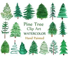 Watercolor Pine Tree Forest Clipart, Watercolor Tree Clipart, Hand Painted Forest Clip Art, Commercial Use, Watercolor Woodland Watercolor Clipart, Watercolor Trees, Watercolor Tattoo, Art Watercolour, Watercolor Projects, Watercolor Pictures, Conifer Trees, Evergreen Trees, Christmas Tree Clipart