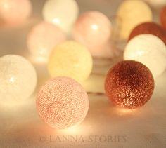 Cherry Blossom Pastel Cotton Ball Patio Party String Lights – Fairy, Wedding, Decor