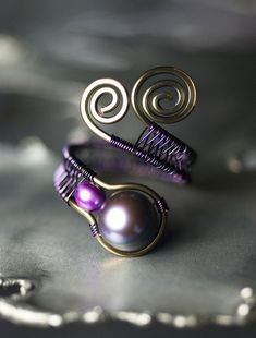 Peacock Black Freshwater Pearl Purple Copper Ring by Moss & Mist Jewelry, via Flickr.