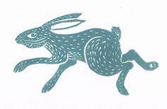 "Image of ""Running Hare"" Linocut --Bridget Farmer"