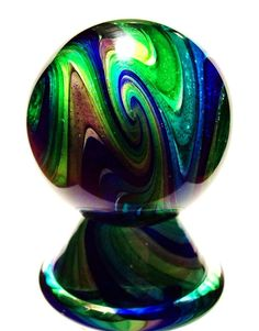 """EDDIE SEESE GLASS 1-3/4"""" EXOTIC DICHROIC TETRISPHERE MARBLE & STAND"""