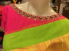 Top 10 Silk Saree Blouse Designs For This Diwali - Candy Crow Hand Work Blouse Design, Stylish Blouse Design, Silk Saree Blouse Designs, Fancy Blouse Designs, Bridal Blouse Designs, Blouse Neck Designs, Kurta Designs, Boat Neck Saree Blouse, Designer Blouse Patterns
