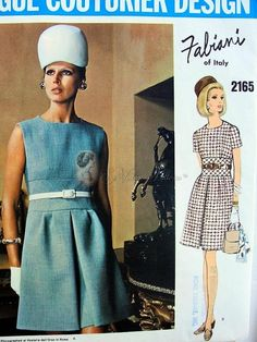 1960s Fabiani Midriff Dress Pattern Vogue Couturier Design 2165 Vintage Sewing Pattern Bust 36 FACTORY FOLDED