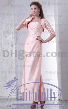 Wholesale Elegant Pink Strapless Sheath Lace Crystal With A Middle Steeve Jacket Mother Of The Bride Dress, Free shipping, $122.08-153.44/Piece | DHgate