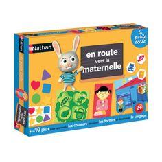 Un premier coffret de jeux éducatifs pour préparer l'entrée de l'enfant en petite section de Maternelle : le loto des couleurs et des formes, le jeu de la maison, le jeu de tri couleurs et formes et le jeu des 4 amis.