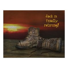 old boots and sunset for Retirement Party Card - invitations custom unique diy personalize occasions Invitation Card Party, Retirement Party Invitations, Retirement Parties, Invitation Paper, Invitation Design, Old Boots, Personalized Invitations, Party Time, Announcement