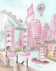Pink London Skyline And London Eye Painting by Debbie Cerone