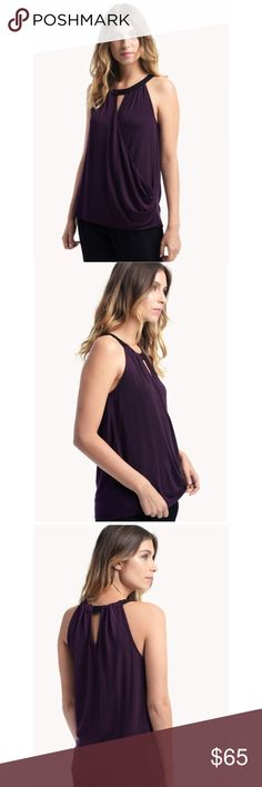 Ella Moss Bella with neck band top dark purple Ella Moss Bella with neck band top dark purple || 100% authentic || brand new without tag || size XS || msrp $125 Ella Moss Tops Tank Tops