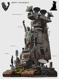 Liberty basement by Longque Chen Environment Concept Art, Environment Design, Apocalypse, Cyberpunk, Arte Steampunk, Sf Wallpaper, Mortal Engines, Post Apocalyptic Art, Arte Robot