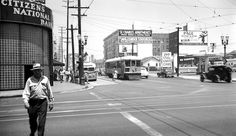Los Angeles Transit Lines streetcar no. 1379 on S line at Western Ave and St. Vintage California, Southern California, Los Angeles Area, Echo Park, Silver Lake, Photo L, Celebrity Photos, Old Photos, Trains