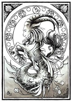 SciFi and Fantasy Art Astro Capricorn by Delphine Gache - Capricorn... A personality at the middle road between the aries, very definite and laborious ; and the virgo, shy and reserved. Generally, capricorns are thoughtful, cartesian and very down-to-earth persons