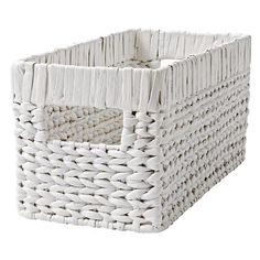 Wonderful Wicker White Small Changing Table Basket    The Land of Nod