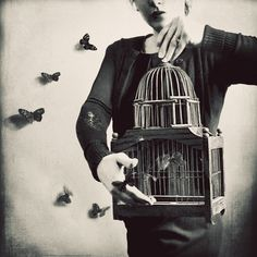flock art photography Surreal Portrait Butterfly and cage Photography Black and White by ellemoss