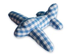 cute stuffed airplane, blue and white gingham Sewing Toys, Baby Sewing, Baby Toys, Kids Toys, Crochet Toys, Fabric Patterns, Little Ones, Creations, Diy Projects