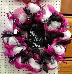 Mr & Mrs deco mesh wreath by WandNDesigns on Etsy