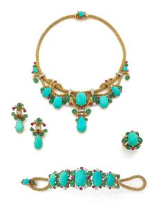 A TURQUOISE, RUBY, EMERALD, DIAMOND AND 18K YELLOW GOLD PARURE, BY MAUBOUSSIN: