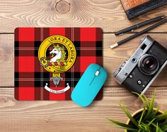 Rubber mousemat with Ramsay clan crest and tartan - only from ScotClans