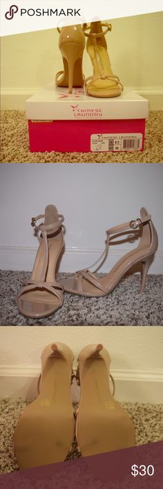 Chinese Laundry Strappy Nude Heels, 8.5 Brand new and never worn! Purchased to wear to a wedding, but I found another pair that matched the dress better. These have been sitting in their box in my closet for a couple months. Only minor wear on bottom from practicing wearing them once in my apartment. True to size, 8.5. Heel height 4.5 inches, no platform. Chinese Laundry Shoes Heels