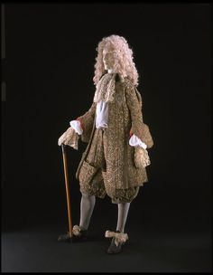 1673, England - Wedding suit - Wool, embroidered with silver and silver-gilt thread and lined with red silk
