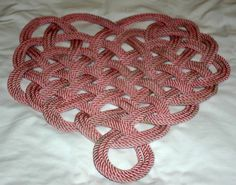 Pink Heart Rug Recycled Rope Hand Dyed and by AlaskaRugCompany, $58.95