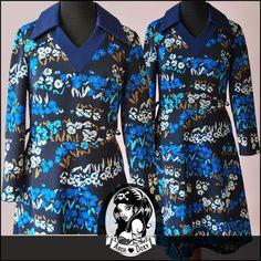 Vintage 1960s MOD Twiggy Blue Print Dagger Collar Scooter Shift Dress Size UK10