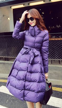 Fashiontroy Street style long sleeves black purple belted pocket long padded coat