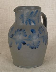 Philadelphia or Baltimore stoneware pitcher, 19th c., with cobalt floral decoration,