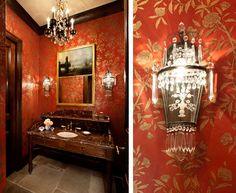 Powder Room - Antiques galore!  www.lindafloyd.com