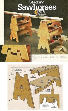 DIY Stacking Sawhorses - Workshop Solutions Plans, Tips and Tricks   WoodArchivist.com