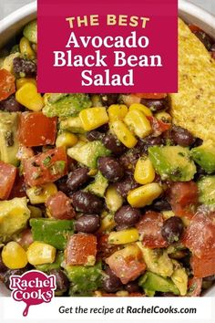 """A crowd favorite, this is the best black bean and avocado salad. It's great served on a bed of greens or as an appetizer with tortilla chips. So good! It's like """"cowboy caviar"""" or """"Texas caviar"""" but made with black beans instead of black-eyed peas. It's simple, tasty and packed with good-for-you ingredients. Serve this at your next party or get-together, it will disappear fast! Cowboy Caviar, Texas Caviar, Black Bean Dip, Black Beans, Healthy Snacks, Healthy Recipes, Dip Recipes, Lunch Recipes, Healthy Eating"""