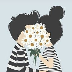 Imagem via We Heart It https://weheartit.com/entry/168167511 #art #boy #cute #daisy #flowers #girl #image #kisses #sweet #transparent #tumblr