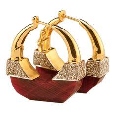 Jade Jagger NeverEnding Ruby Diamond Hoop Earrings | From a unique collection of vintage hoop earrings at https://www.1stdibs.com/jewelry/earrings/hoop-earrings/