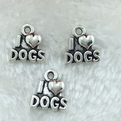 Jewelry Findings,Charms,Pendants,Antique Silver Alloy 12PCS I love dogs #Unbranded