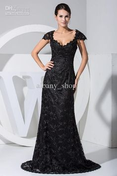 Wholesale New Elegant Sexy Off-the-shoulder Black Applique Evening Dresses A-line Long Prom Gown Train, Free shipping, $81.75-103.84/Piece | DHgate