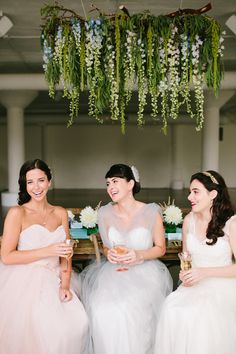 Pastel wedding inspiration: Tess, Dahlia, and Bridget gowns by Mignonette Bridal, featured today on Style Me Pretty!   Photography: Katie Kett Photography - www.katiekettphotography.com/  Read More: http://www.stylemepretty.com/2014/10/22/monets-water-lily-bridal-inspiration/