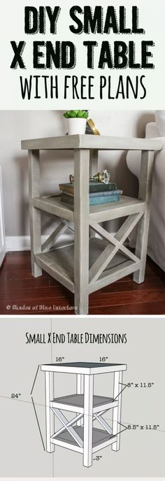 18 Easy DIY Sofa Side Tables You Can Build on a Budget - Check out the tutorial how make a small DIY sofa X end table decor bedroom side tables 19 Easy & Unique DIY Side Table Ideas You Can Build on a Budget Pallet Furniture, Furniture Projects, Furniture Plans, Rustic Furniture, Antique Furniture, Outdoor Furniture, Bedroom Furniture, Modern Furniture, Apartment Furniture