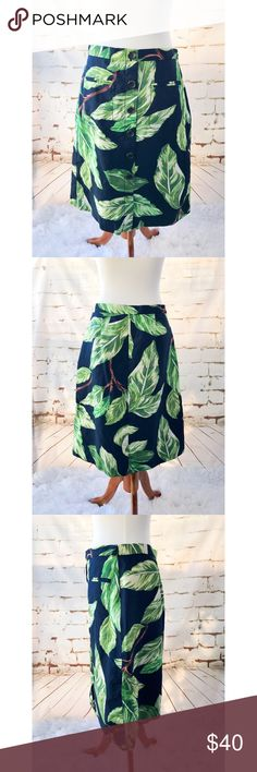 Ann Taylor Green and Navy Fern Midi Skirt Ann Taylor Green and Navy Fern Midi Skirt.  Skirt zips on the side. Ann Taylor Skirts Midi