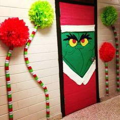 50 Christmas Door Decorations for Work to help you Ace the Door Decorating Contest - Hike n Dip - - Looking for quick Christmas Door Decoration Ideas? Here are the best Christmas Door Decorations for work to ace the Christmas door decorating contest. Grinch Party, Grinch Christmas Party, Kids Christmas, Christmas Crafts, Christmas Lights, Christmas Parties, Funny Christmas, Christmas Nails, Simple Christmas