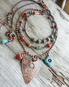 Collar cobre sudoeste del corazón encanto por lunedesigns en Etsy