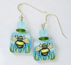 Bumblebee Polymer Clay Art Earrings by papermoonjewelry on Etsy.
