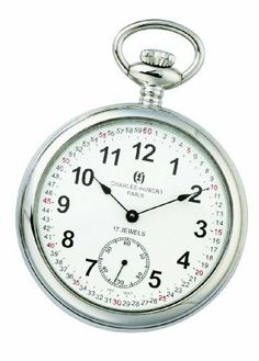 Charles-Hubert, Paris Open Face Mechanical Pocket Watch Charles-Hubert, Paris. $156.00. White dial with Arabic numerals. 17 jewel mechanical movement. Stainless steel 51mm open face case with a matching curb chain. Deluxe gift box. Save 34%!