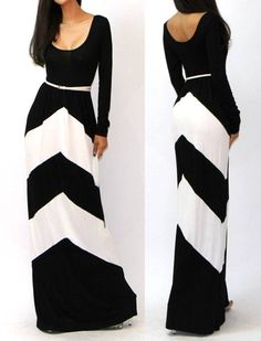 Love this! Adorable long chevron black and white dress