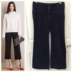Anthropologie Cartonnier Wide Leg Crop Pants Anthropologie Cartonnier Wide Leg Crop Pants, very soft velvety corduroy, washed blue color, excellent like new condition, Size 4, come from a smoke free home  Anthropologie Pants