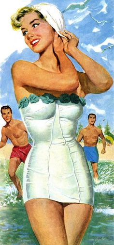 """Look Bob-isn't that Loretta? She's a looker"" 1952 ad for Nylon swimwear."