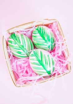 DIY Pink Palm Leaf Easter Eggs | Best Friends For Frosting