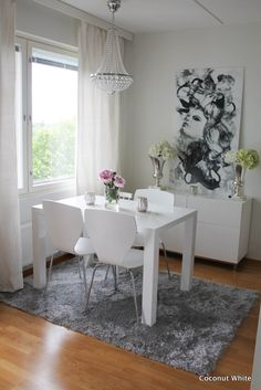 Coconut White dinning room decor.