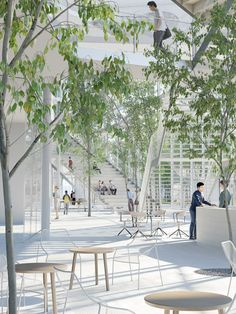 University building filled with trees and plants by Sou Fujimoto.