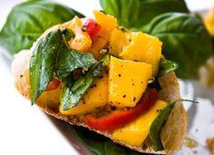 mango basil bruschetta