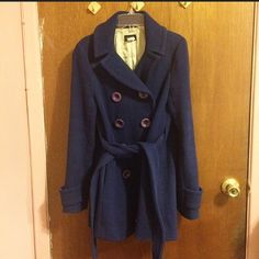 "J.Crew Midnight Blue Wool jacket Size: 2; four button down with tie at waist; has pockets; approx: 27"" long from shoulder to hem;14.5"" from shoulder to shoulder; and 23"" sleeve length; worn a few times. J. Crew Jackets & Coats Pea Coats"